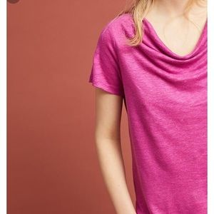 Anthropologie Maeve linen purple horizon T shirt
